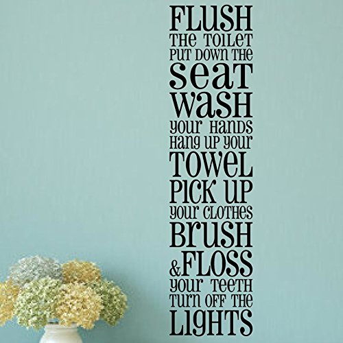 nbnio Letter A Wall Decor Sticker Bathroom Rules Flush The Toilet Put Down The Seat for Bedroom Living Room Home Quotes
