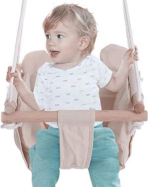 Swing Seat Kids Children Baby Indoor Outdoor Hammock Hanging Rope Chair Backyard Tree Swing Net Seat Door Swing for Boys Girls 0-4 Years (Ship from US) (Beige 01, 15.7in×15.7in×47.2in)