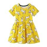 Vestidos para Bebés Niña Amarillo Conejo Animals Estampados Casual Algodon Manga Corta Verano Baratos Vestidos Infantil Niña Camiseta 1-8 años