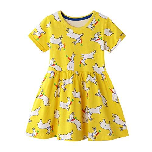 FILOWA Vestidos Niña Amarillo Conejo Animals Estampados Casual Algodon Manga Corta Verano Baratos Vestidos Infantil Bebés Niña Camiseta Ropa 4-5 años