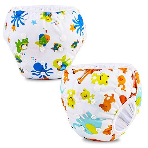 Phogary Schwimmwindeln (2er-Pack), wiederverwendbare Baby-Schwimmwindel für Babys von 0 bis 3 Jahren (Gewicht 3 bis 15 kg), perfekt für Duschen, Strand- und Schwimmstunden (Meereslebewesen+Frosch)