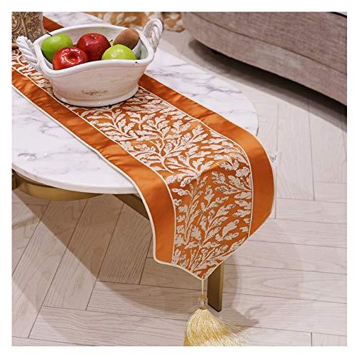 WXIAO Hittebestendige Tafelloper Rechthoek Catering Event Oranje Stof Decoraties Machine Wasbaar Zijde Handgemaakte Dressoir Sjaals