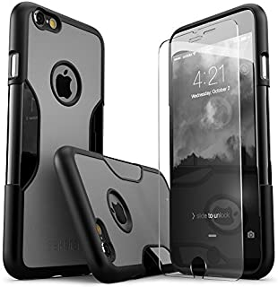 iPhone 6 Plus Case, iPhone 6s Plus Case, Black Gray SaharaCase Protective Kit withBonus Tempered Glass Screen Protector Rugged Slim Protection, Shock-Absorbing bumper with Hard Plastic Frame