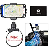 CamKix UTV Side by Side Roll Bar Phone Mount Compatible with Polaris RZR, General, Ranger and Most Other UTV Brands - Holds Smartphones, GoPro, Other Action Cams - Phone Holder Clip, GoPro Mount Incl