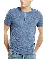 Henley Shirts for Men Short Sleeve Mens Casual Button T-Shirts(XXL,Heather Blue)