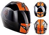 SOXON ST-666 - ST-666_DELUXE-NIGHT_L - Casque moto - ECE certifiés - y compris le pare-soleil - y compris le sac de casque - Noir/Orange - L (59-60cm)