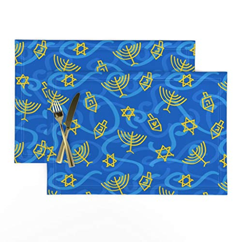 Roostery Cloth Placemats, Hanukkah Hanuka Swirly Dreidel Menorah Chanukah Star of Print, Linen-Cotton Canvas Placemats, Set of 2
