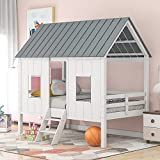 SOFTSEA Twin House Bed, Low Loft Bed Playhouse Bed Frame with Two Front Windows and Roof for Kids Toddlers Teen, No Box Spring Needed