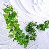 Plantas artificiales Falso Plant Simulation hojas de vid de ratán verde pared de la hoja que cuelga del techo alféizar Decoración de la cerca En maceta artificial ( Color : Verde , Size : One Size )