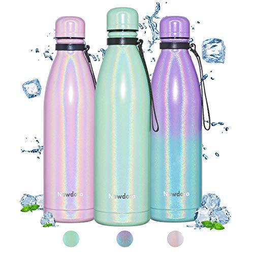 Newdora Botella de Agua Deportiva de Acero Inoxidable, Botella Termica con Doble Aislamiento para 12 Horas de Bebida Caliente y 24 Horas de Bebida Fría, Botella, 750ml, Verde
