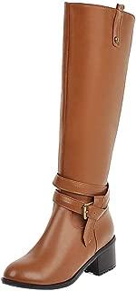 MisaKinsa Women Fashion Knee High Boots Block Heels Zipper