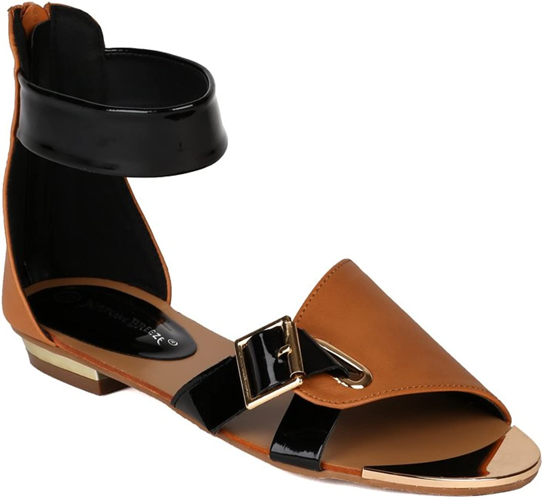 Nature Breeze AI39 Women Leatherette Muli color Two Tone Gladiator Flat Sandal - Camel