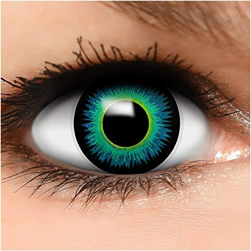 Farbige Kontaktlinsen Serapphin in blau + Behälter - Top Linsenfinder Markenqualität, 1Paar (2 Stück)