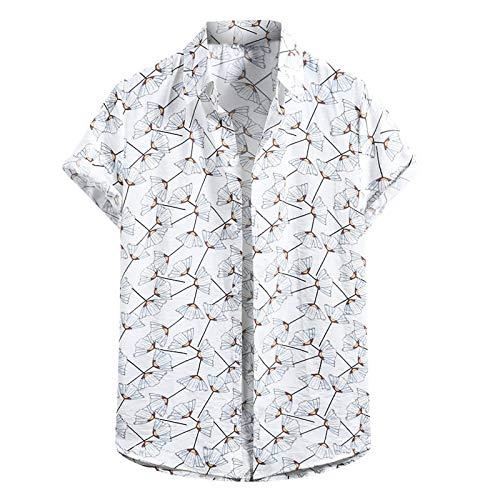 Camisa con Estampado Hawaiano de Primavera Y Verano para Hombres Camisa de Playa de Manga Corta con Estampado Delgado Y Casual Top