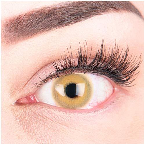 """Sehr stark deckende und natürliche braune Kontaktlinsen SILIKON COMFORT NEUHEIT farbig """"Alice Brown"""" + Behälter von GLAMLENS - 1 Paar (2 Stück) - DIA 14.50 - ohne Stärke 0.00 Dioptrien"""
