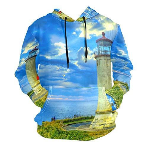 XiangHeFu Herren Hoodies Sweatshirt Sonnenuntergang Küste Leuchtturm Langarm Pullover