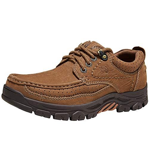CAMEL CROWN Schnürhalbschuhe Herren Mokassins Leder Oxford Loafer Derby Alltags Casual Schuhe für Braun Khaki Schwarz 41-47, Braun, 45.5 EU