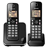 Panasonic Expandable Cordless Phone System with Amber Backlit Display – 2 Handsets – KX-TGC352B (Black)