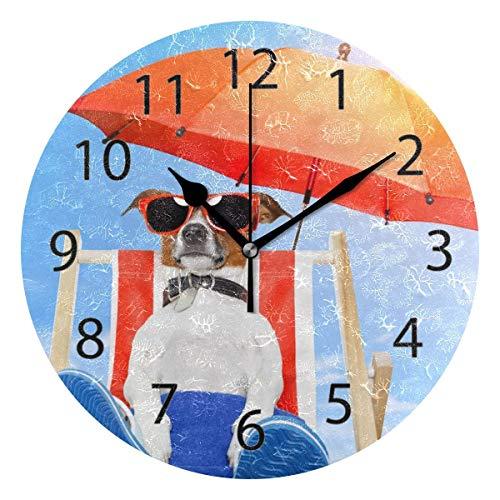 Reloj de pared decorativo para el hogar, oficina, silencioso, de madera, 25,4 cm, para sala de estar, oficina (perro tomando el sol en la silla de la cubierta)
