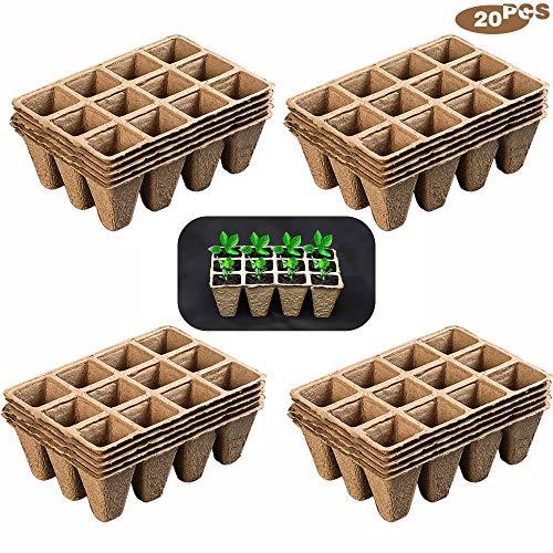 munloo 240 Pot semis Biodegradable, Pots de Pépinière Dégradables, Pots de Fleurs Carrés, 20 Morceaux de 12 Grilles pour Planter des Plantes, des Fruits et des Légumes dans Le Jardin
