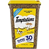 TEMPTATIONS Classic Crunchy and Soft Cat Treats Tasty Chicken Flavor, 30 oz. Tub (Packaging May Vary)