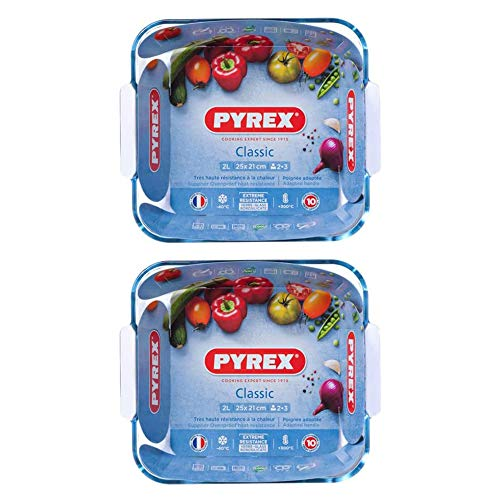Pyrex Classic Multipurpose Glass Square Roaster with Easy Grip 25x21cm Transparent (Pack of 2)