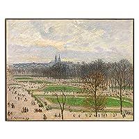 カミーユ・ピサロ《冬の午後のチュイルリー庭園》キャンバスアート油絵アートワーク写真家の装飾21x30cm内部フレーム