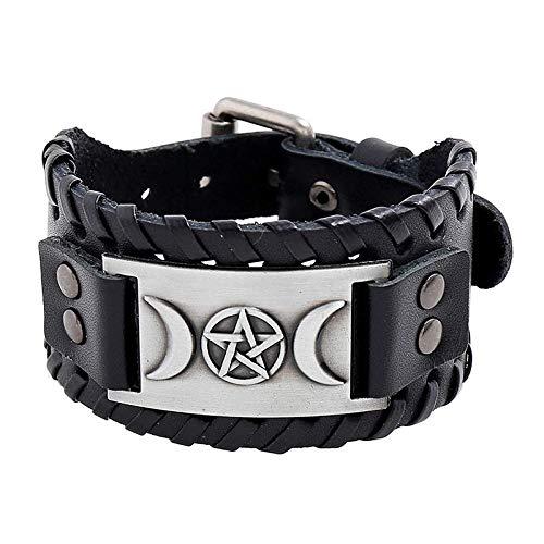 Viking Bracelet Nordic Amulet Bracelets Triple Moon Goddess Wicca Pentagram Leather Cuff Bracelet - Celtic Pagan Jewelry of Talisman