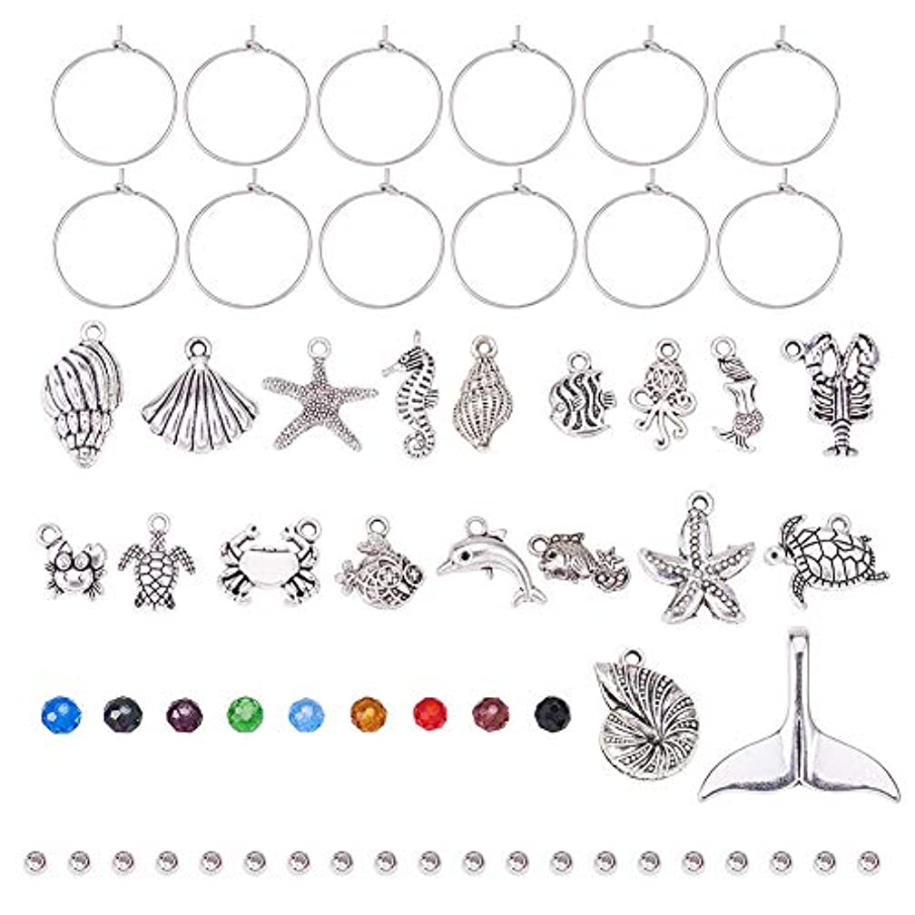 PH PandaHall 60pcs 20mm Silver Brass Wine Glass Charm Rings with 20pcs Seashell Sea Creatures Charms Pendants, 20pcs Transparent Glass Beads and 20pcs Brass Spacer Beads for Party Favor