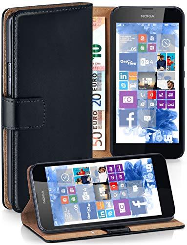 MoEx Cover a Libretto Compatibile con Nokia Lumia 630/635 | Fessura Carta + Soldi, Supporto, Nero