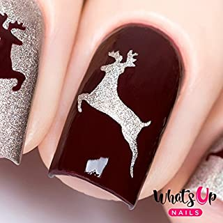 Whats Up Nails - Deer Vinyl Stencils for Christmas Nail Art Design (1 Sheet, 20 Stencils)