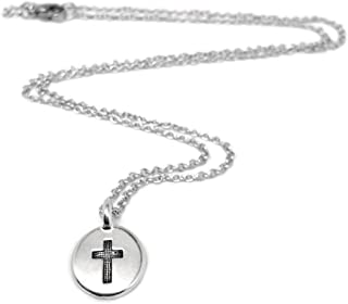 Tiny Silver Cross Charm Necklace for Women