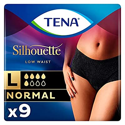 TENA Silhouette Normal Incontinence Pants - Low Waist - Noir - Large (1 Pack of 9) from ESSITY UK LTD