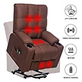 ERGOREAL Power Lift Recliners for Elderly Heated Vibration Massage Fabric Sofa Electric Lift Chair Recliner with Side Pocket and Cup Holders & Remote Control (Brown)