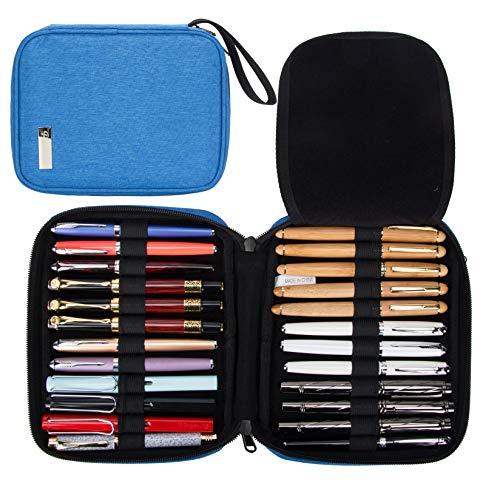 24 Fountain Pen Collector Organizer, Rollerball Pen Display Case Storage, Pencil Case Holder Bag, Ballpoint Pen Carrying Box Bag Storage (Royal Blue)