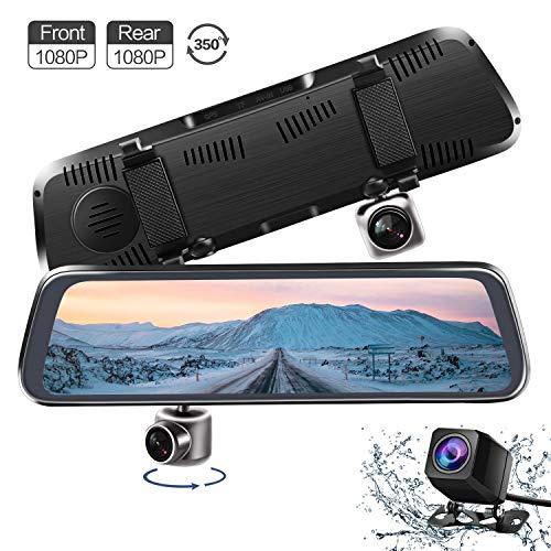 CHICOM Mirror Dash Cam,Backup Camera 10' 1080P Touch Screen Dash Camera 350° Rotating Front Camera and 140°Wide Angle Full HD Waterproof Rear View Reversing Camera