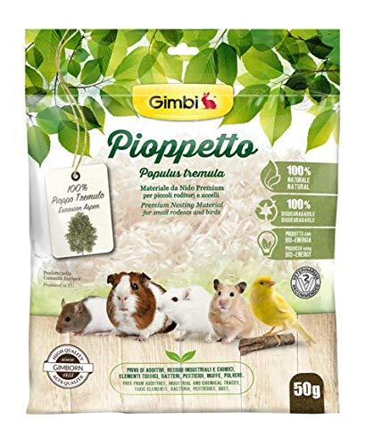 Gimbi Pioppetto Nistmaterial für Vögel, Kaninchen und Nager, hochwertig, natürlich, 100 % biologisch abbaubar, 50 g