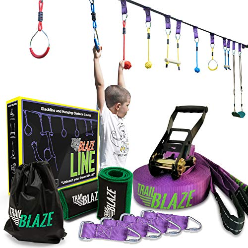 Trailblaze Ninja Warrior Obstacle Course for Kids - 50 ft Slackline Ninja Line Monkey Bars Kit & Bonus Seat Swing - More Obstacles Than Ever w/ Adjustable Positions - Perfect Ninja Course Training