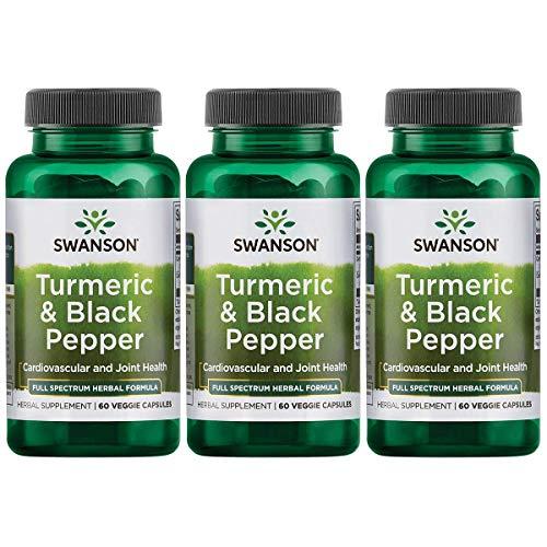 Swanson Turmeric and Black Pepper Organic Antioxidant Joint Cardiovascular Liver Detox Support Supplement Better Absorption Curcuma Longa 600 mg Piper nigrum 5 mg per Serving 60 Veg Caps (3 Pack)