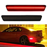 iJDMTOY Smoked Lens Red Full LED Rear Side Marker Light Kit Compatible With 1999-2004 Ford Mustang, Powered by 40-SMD LED, Replace OEM Back Sidemarker Lamps