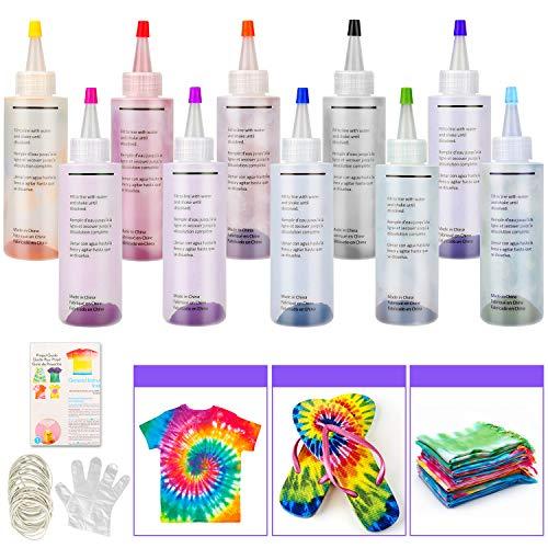 Tie Dye Kit, Sinwind 10 Colores Vibrantes Pinturas Textiles de Tela, con 40 Bandas de Goma, 8 Pcs de Guantes de Plástico, para Tela Pinturas, Actividades del Campus
