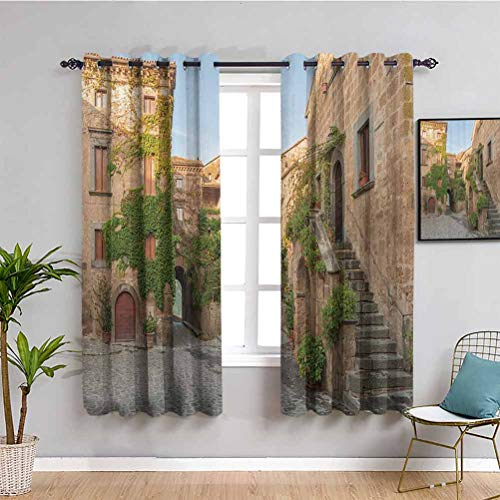 Tuscan Decor Collection Shading Insulated Curtain Village Houses with Flowers Outside in Burano Village Venice Italy Bathroom curtain Ivory Green W72 x L72 Inch