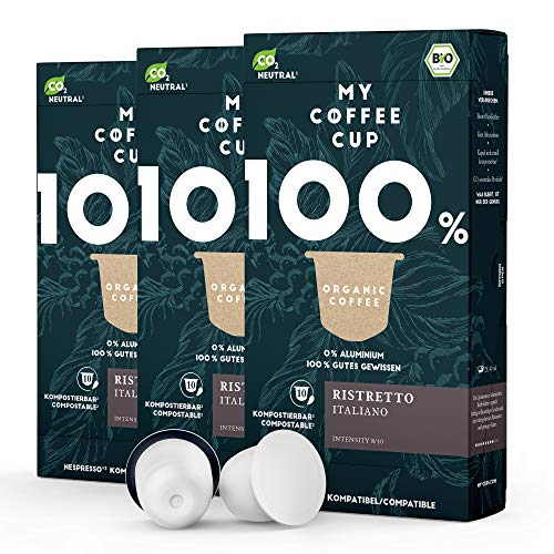 My Coffee Cup – RISTRETTO ITALIANO – BIO-KAFFEE 3 PACKUNGEN I 30 Kaffeekapseln für Nespresso®³-Kapselmaschinen I 100% industriell kompostierbare Kaffeekapseln – 0% Alu I Nachhaltige Kaffeekapseln