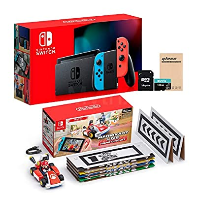 NS Console and Kart Holiday Combo: Switch Red Blue Joy-Con 32GB Console, Mario Kart Live: Home Circuit Mario Set, Mytrix 128GB MicroSD with Adapter and Tempered Glass Screen Protector