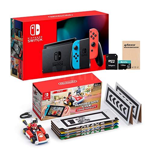 Console NS e Kart férias Combo: Troca Red Azul Joy-Con 32GB Console, Mario Kart ao vivo: Início Circuit Mario Set, Mytrix 128GB MicroSD com adaptador e tela de vidro temperado Protector