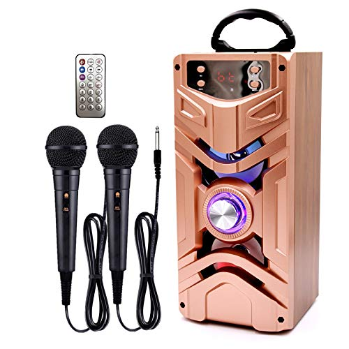 IndeCool Bluetooth Karaoke Machine with 2 Microphones, Wooden Remote Control Portable Wireless Karaoke Speaker Music MP3 Player for Teenager Adult Home Outdoor Party Gift (Rose Gold)