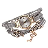 Pulsera del Reloj, K-youth® Retro Estilo Romano Clave Colgante Cuarzo Reloj de Pulsera Mujeres Accesorios de Moda Encanto Abrigo Alrededor de Reloj de Pulsera de Cuarzo de Cuero (Gris)