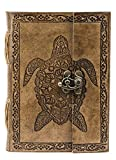 GnG - Cuaderno de cuero Cuaderno Diario Hecho a mano Libro vintage Escritura en blanco Encuadernado Tercer ojo grande (diario de tortuga)