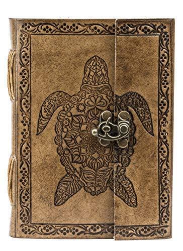 GNG - Diario in pelle tartaruga fatto a mano vintage libro rilegato grande terzo occhio