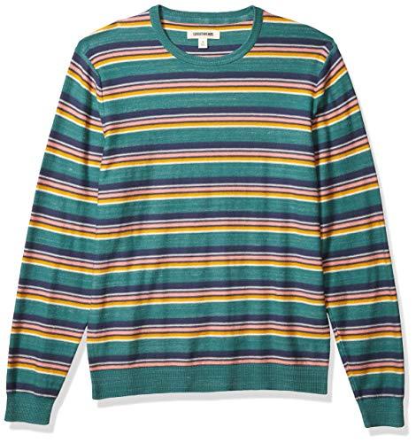 Amazon Brand - Goodthreads Men's Soft Cotton Crewneck Summer Sweater, Multi Color Stripe, XX-Large